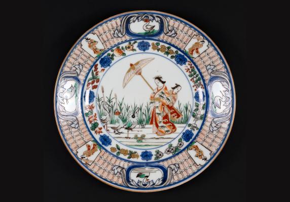 Japanese Arita porcelain Pronk Plate Dames aux Parasol