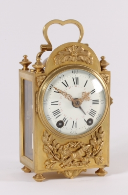 An attractive French Louis XVI-style brass 'pendule d'officier', by E. Bazart, circa 1890