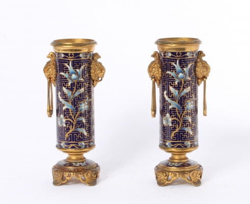 A pair of French gilt bronze cloisonné enamel Oriental vases by Susse Frères, circa 1900