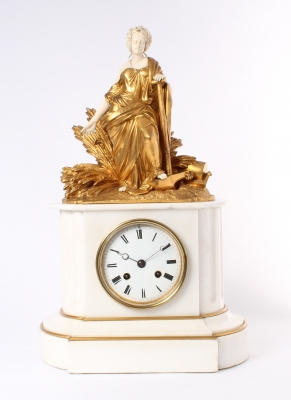 A French Napoleon III gilt marble gilt bronze and ivory sculptural mantel clock, circa 1860