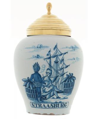A Tobaccojar in Dutch Delftware 'Straatsburg'