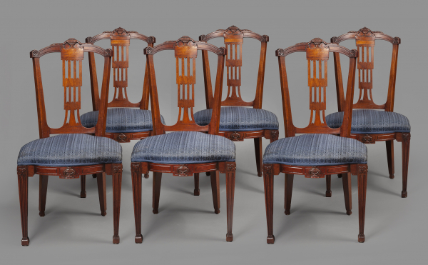 A set of six Louis Seize dining chairs