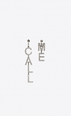 Saint Laurent Call Me Earrings In Brass And Crystal - Saint Laurent