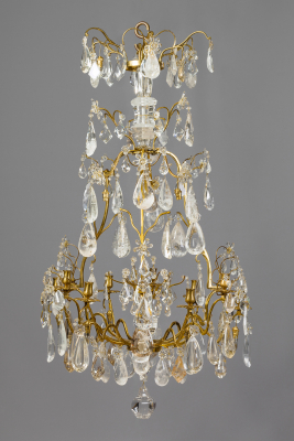 French Louis XV Lustre à Cage with Rock Crystal