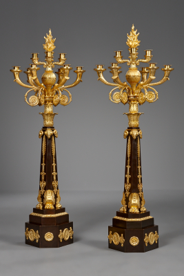 Pair of large French Restauration Candelabra