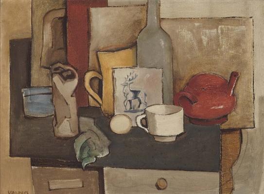 Still life of Dutch tile - Otto van Rees
