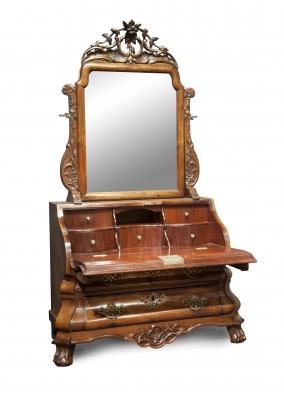 Hollands Louis Quinze miniatuur bureau met spiegel