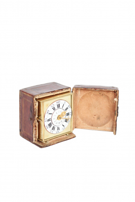 A rare German brass alarm travel clock with travel case, circa 1770