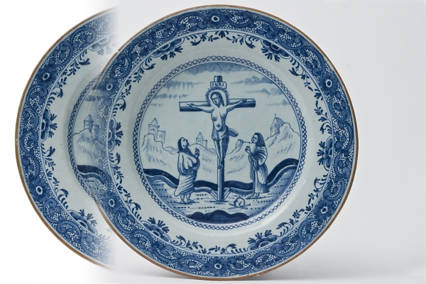 A Pair Dutch Delft Dishes