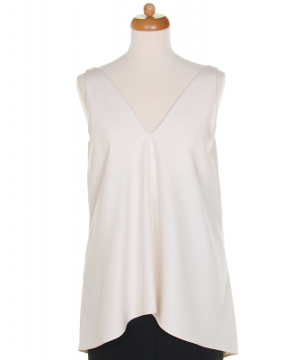 Celine Off White Mulberry Silk Dip Hem Top - Celine