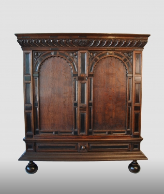 "Dutch cupboard, a so called ""toogkast"" , made of oak with ebony decoration."
