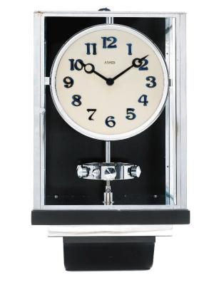 W35 Grote nikkelen Art Deco JL Reutter Drie-Glazen Atmos wandklok.