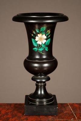 A decorative Italian black marble urn with malachite inlay, circa 1880