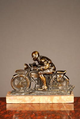 Bronze motorcycle statue from circa 1930