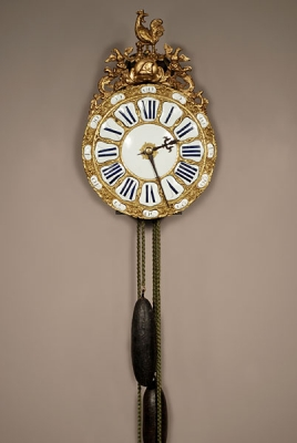 A French brass striking alarm lantern clock, second quarter 18th Century