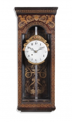 A rare and decorative Mid-European painted wood striking rack wall clock, circa 1780.