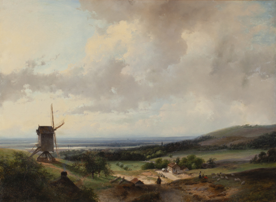 Summerlandscape with Windmill and Haarlem in the distance - Andreas Schelfhout
