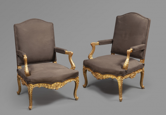 A very decorative pair of fauteuils