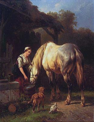Woman watering a horse - Wouterus Verschuur