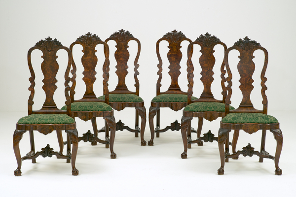 Six Dutch Louis XV Carved Burr Walnut Chairs