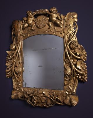 A Louis Quartorze mirror with coat of arms of VOC governor Cornelis Kien