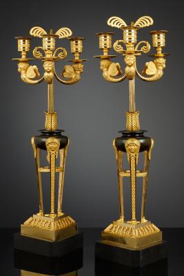 Paar Franse Empire drielichts Kandelabers