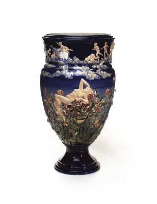 A monumental Choisy-le-Roi Maiolica vase modelled by Louis Carrier Belleuse, circa 1880