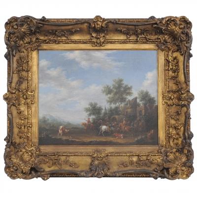 Een zeventiende-eeuws schilderij voorstellende een bende struikrovers in actie