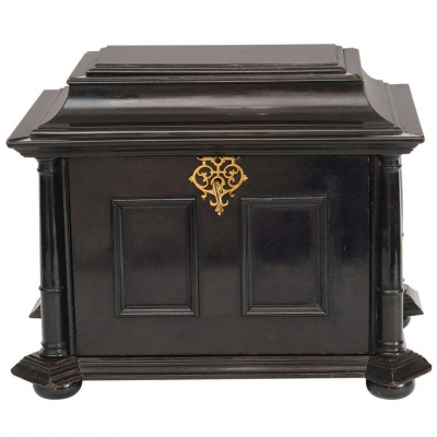 A seventeenth century gilt-metal mounted ebony and ivory table cabinet