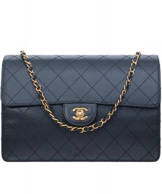 1997-1999 Chanel Black Caviar Leather Jumbo Single Flap Bag - Chanel