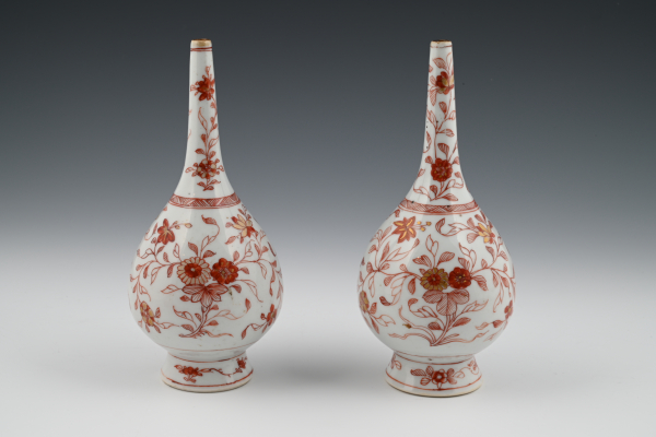 A pair Chinese  porcelain rosewater sprinklers