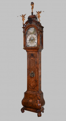 A Dutch burr walnut longcase clock.