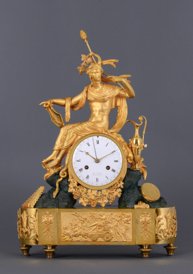 A large ormolu bronze French mantel clock Apollo with its lyre