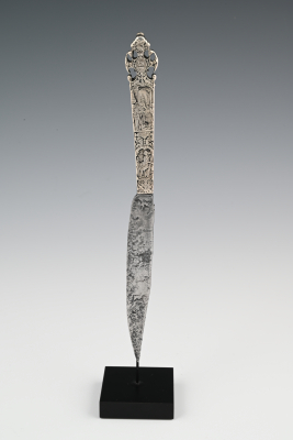 Engraved silver knife handle