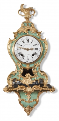 A French Louis XV corne verte bracket wall clock on wall bracket, by F. Duval, circa 1750