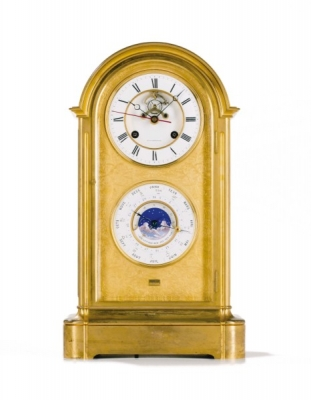 A French Napoleon III ormolu mantel regulator with perpetual calendar, by Pointeaux, circa 1860