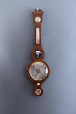 An English Banjo barometer J. Shetrino Worcester, around 1830