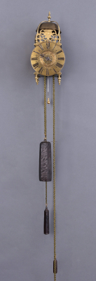A small French brass lantern clock with alarm clock, Cailliaird à Paris, around 1720
