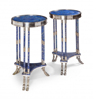 A pair of Louis Seize style Lapis Lazuli and silver plated gueridon tables