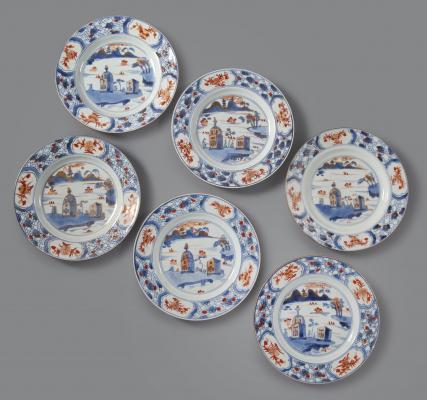 Set of 6 Kangxi Imari Plates decorated with landscapes