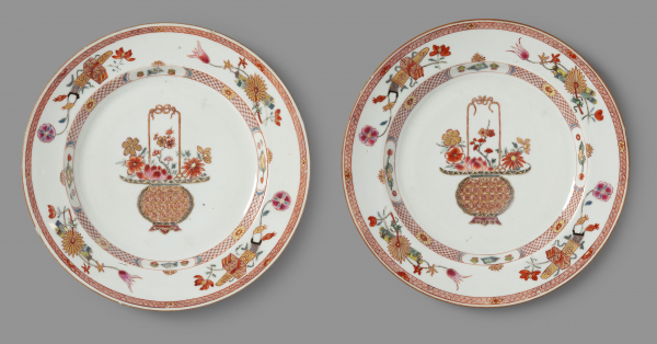 "Pair of Famille-rose ""Flower Basket"" plates"