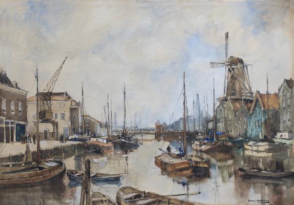 Achterhaven te Delfshaven, Rotterdam - Herman Cornelis Adolf Paradies