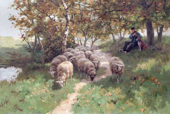 Herder met hond en kudde schapen - Willem Steelink Jr