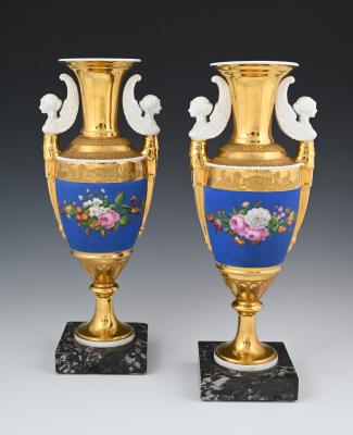 A pair of Empire porcelain vazes