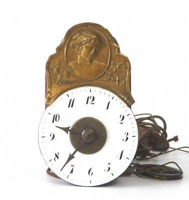 A miniature  Black Forest 'Sorg'  wall clock, depicting Hermes,  circa 1830.