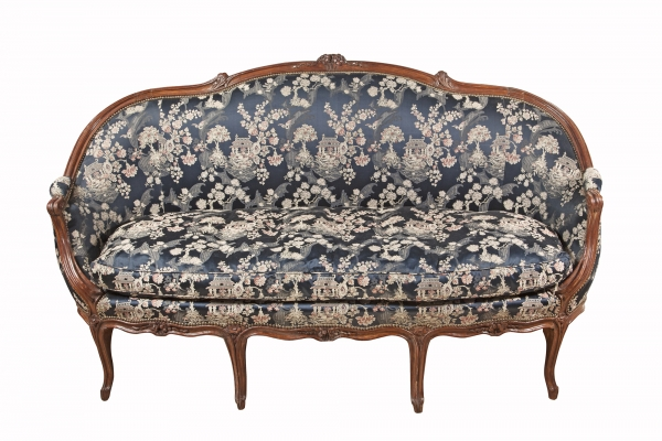 French Louis Quinze sofa with chinoiserie upholstery