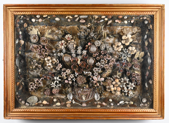 Viewing cabinet with flower basket of all kinds of shells