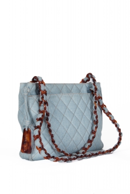 Chanel Blue Denim Quilted Tortoise Chain Shoulder Bag