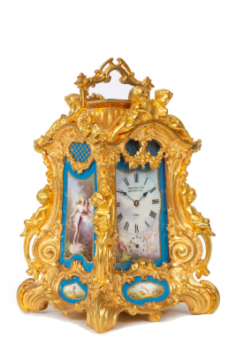 A rare French gilt Sevres mounted Rococo case carriage clock, Drocourt circa 1860