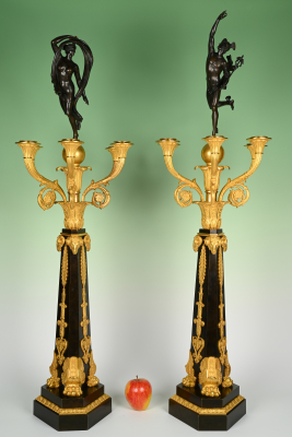 A pair of large ormolu bronze Empire candelabras